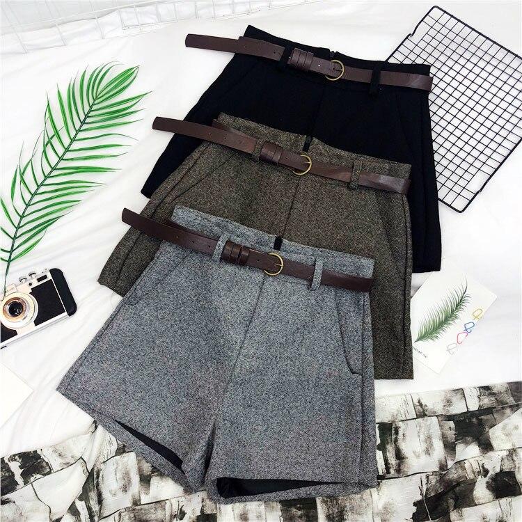 Herbst Winter Formalen Shorts Frauen Koreanische Hohe Taille Dick Mit Schärpen Breite Bein Shorts Weibliche Grau Schwarz Grün Casual Boden