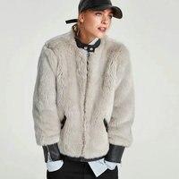 2018 nuevo de fashon mujeres patchwork lujo Cuero no original + cuero Chaquetas señora invierno gruesa warm beige abrigos Abrigos xs-xl venta caliente