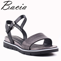 Bacia New 2017 Sheep Skin Sandals Fashion Litchi Patern Leather Black Leather Summer Shoes Low Wedges