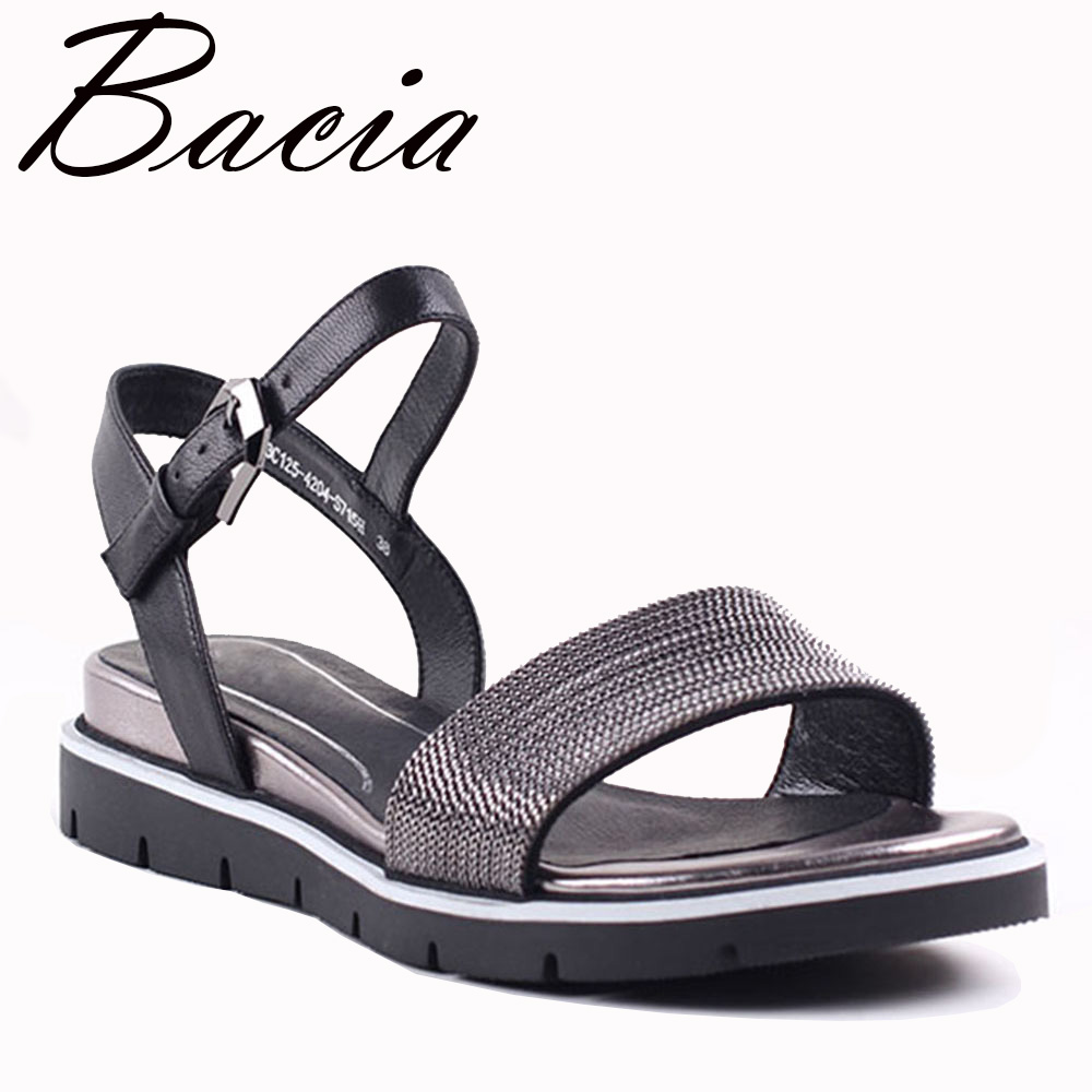 Bacia New 2017 Sheep Skin Sandals Fashion Litchi patern leather Black Leather Summer Shoes Low Wedges Heel Shoes 35-41 VXA025
