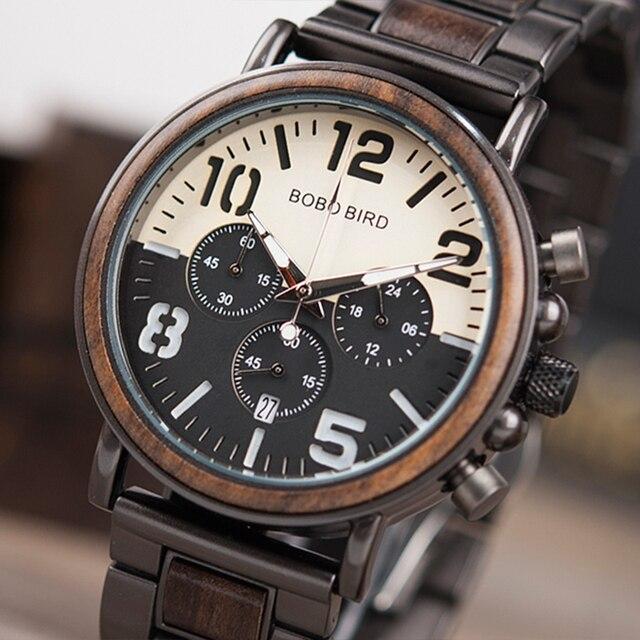 BOBO BIRD Chronograph Men Watch Wooden Brand Luxury Metal Clock montre design hommeQuartz Watches