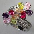Clássico prata Peridot rosa morganita ametista Cubic Zirconia anel favorito R504 sz # 6 7 8 9