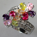 Venta al por mayor clásico Peridot Pink Morganite Amethyst Cubic Zirconia joyería de plata chapada favorito anillo R504 sz #6 7 8 9