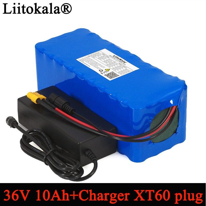 Liitokala 36 V 10000 mAh 500 W haute capacité 18650 batterie au Lithium Balance voiture moto voiture électrique vélo Scooter + 2A chargeur