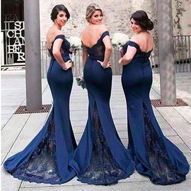 ce5e2815f 2017 dama de Honor Larga Vestidos Fuera del hombro Azul Marino Sirena Honor  De Dama de