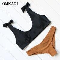 OMKAGI Brand 2017 Lovely Bowknot Straps Swimwear Women Low Waist Bikinis Set Push Up Padded Brazilian