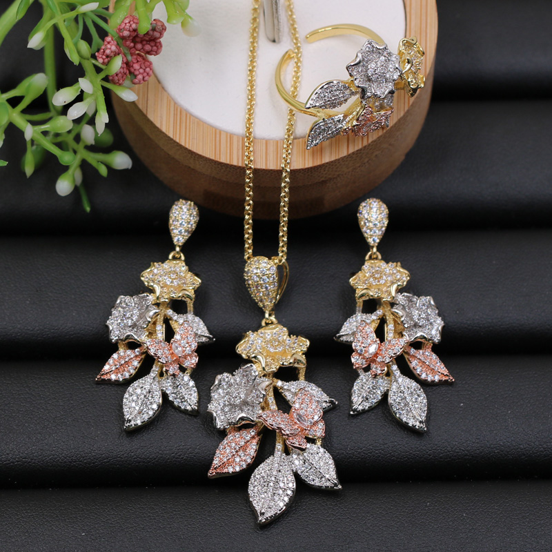 Lanyika Jewelry Set Luxury Exquisite Flower with Leaf Micro Plated Necklace with Earrings and Ring for Engagement Trendy Gift
