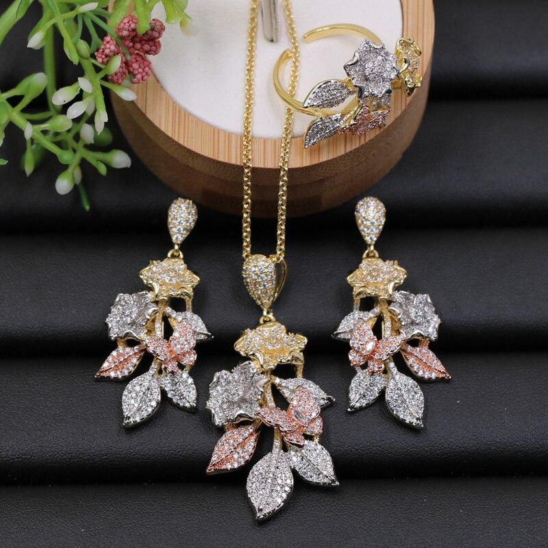 Ювелирный Набор Lanyika, роскошный изысканный цветок с листом, ожерелье с микро покрытием и серьги и кольцо для помолвки, модный подарок|Ювелирные наборы| | АлиЭкспресс