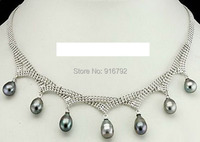 YH CS Real Black Gray Pearl 18KWGP Beads Pendant Necklace