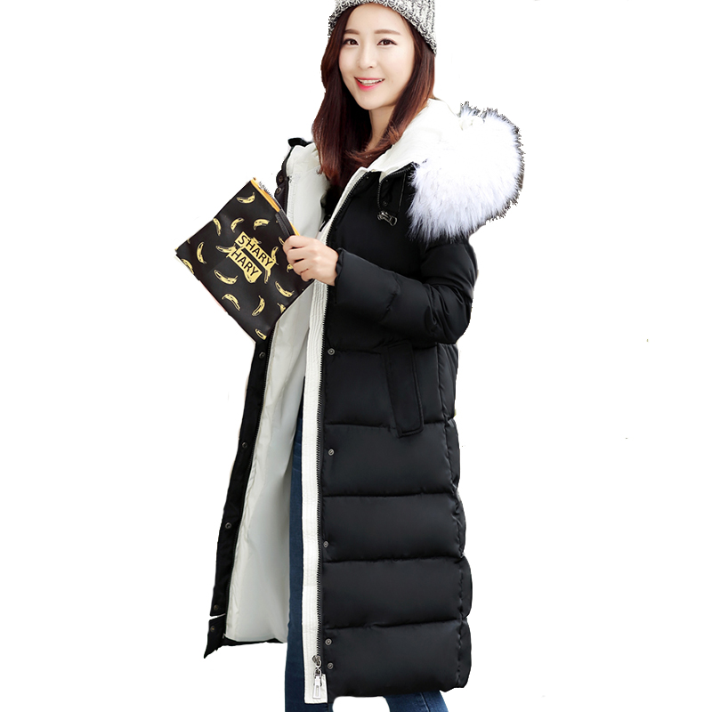 High Quality Winter Jacket Women With Fur Warm Thicken Snow Wear Female Coat Long   Parka   Cotton Padded   parkas   Hooded