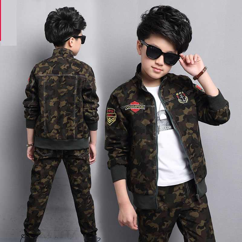 Male child clothing autumn set camouflage cotton 100% 2019 sports sets child spring boy long-sleeve + pants 2pcs
