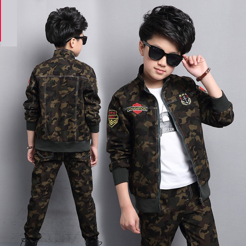где купить Male child clothing autumn set camouflage cotton 100% 2018 sports sets child spring boy long-sleeve + pants 2pcs дешево