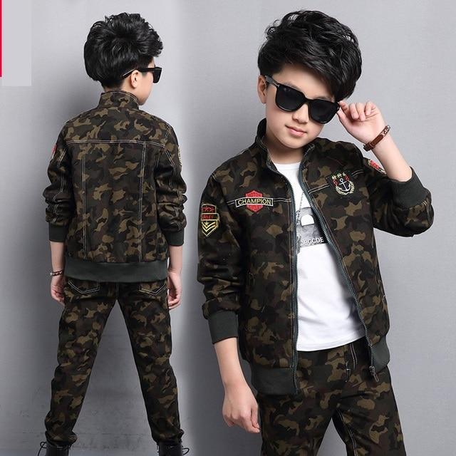 Male child clothing autumn set camouflage cotton 100% 2020 sports sets child spring boy long sleeve + pants 2pcs