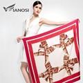 [VIANOSI]  Fashion Foulard Women Shawls Red Twill Silk Satin Scarf Print Pattern 100*100CM Square Head Scarves VA034