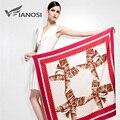 [Vianosi] moda mujeres foulard mantones bufanda de la impresión de seda de la tela cruzada de satén rojo 100*100 cm de cabeza cuadrada bufandas va034