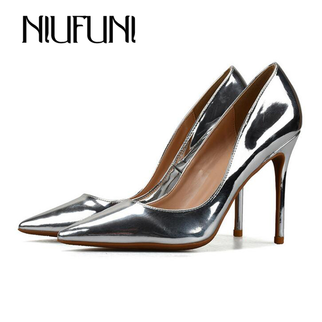 586f5ea2d64eb 6 8 10CM High Heels Ladies Shoes Pointed Toe Metal Material Sexy Party  Weddding Shoes European Plus Size 42 Gold Princess Pumps