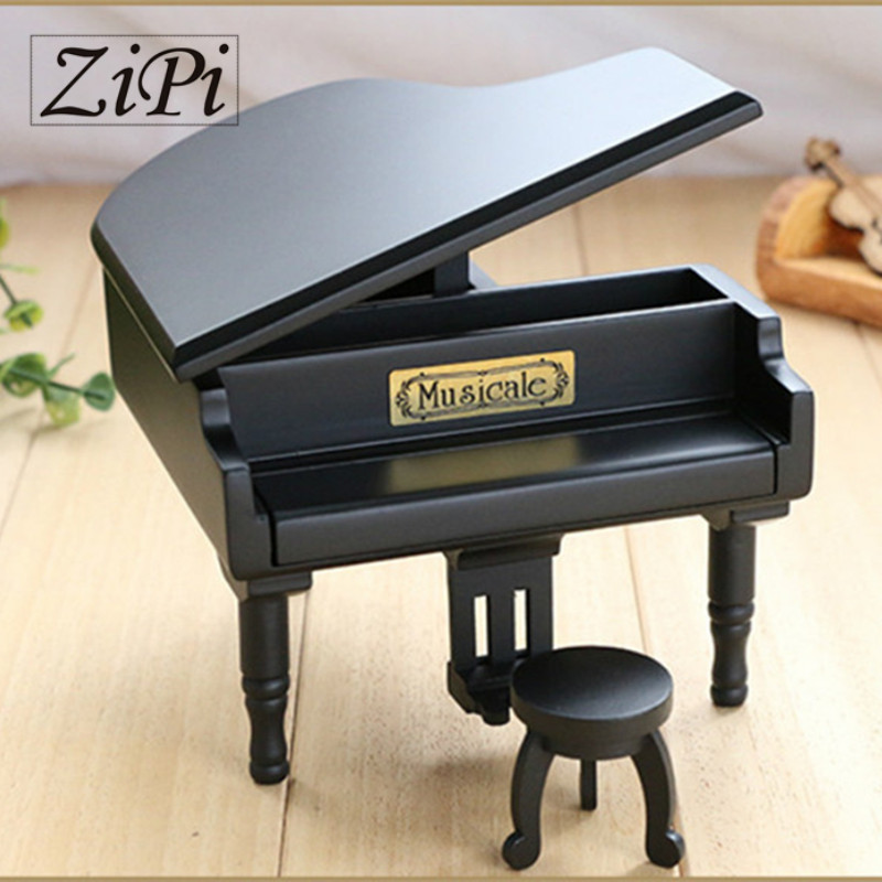 New Black Wood Piano <font><b>Music</b></font> Box Home Decoration Creative Gifts for Princess Love Girl Valentine