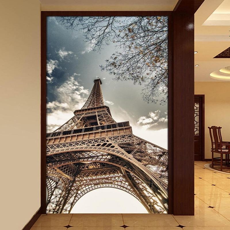 3d wallpaper custom hd sky eiffel tower architecture mural for Eiffel tower mural wallpaper