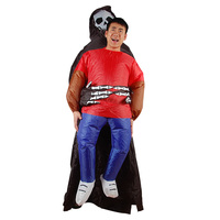 Carnival Costume Halloween spoof Inflatable Costumes Funny Party Dress Scary Skeleton holding cosBlood Run