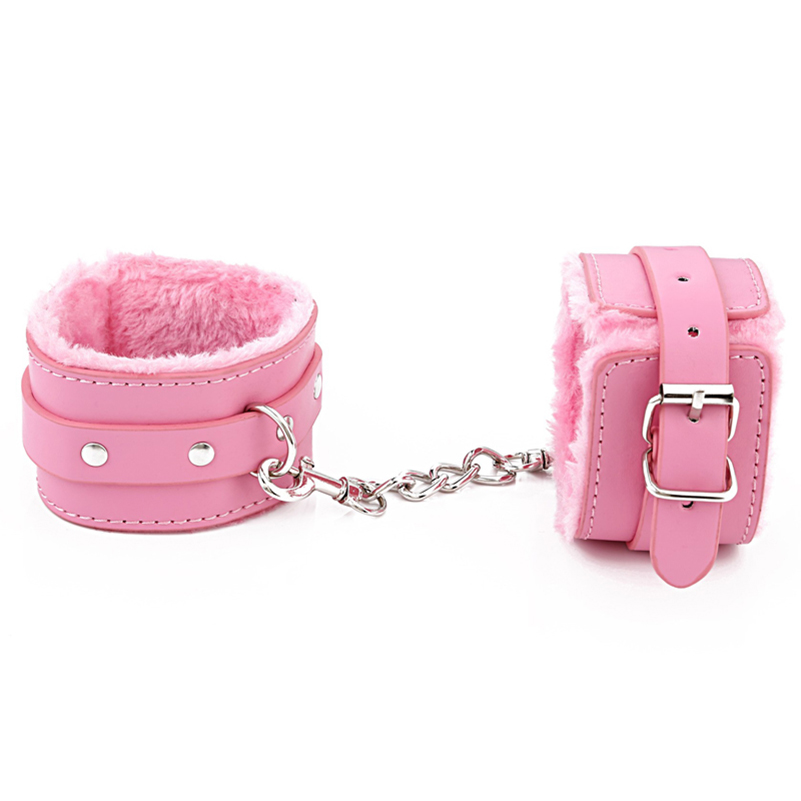 Pink BDSM Leather Hand Ring Handcuff Ankle-cuffs Restraint Bondage Fetish Cosplay Cop Wrist Sex Toy For Couple Slave Rule Play
