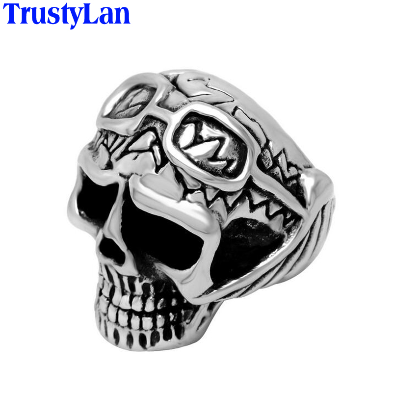 Trustylan Gift Fashion Stainless Steel Skull Rings Men Skeleton Ring Punk Biker Jewelry Big Size 12 13 Cool Party - TrustyLan 168 store