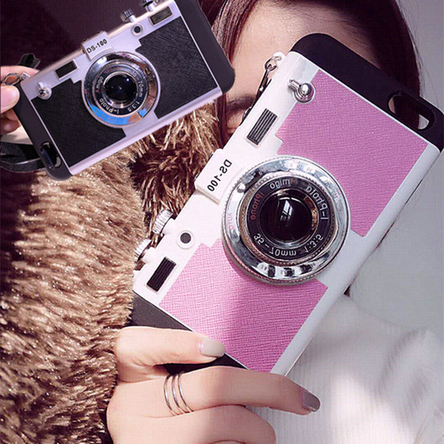 7edbffa1f7b02a GOESTIME Fashion Camera 3D Tumblr Case with Strap For iPhone 5 5S SE 6  6Plus 6s Plus Back Cover Mobile 3d Phone Case Back Cover