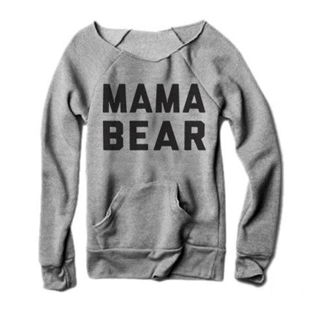 Vessos mulheres camisetas tops moda feminina meninas mangas compridas letras mamãe urso impressão o-pescoço t-shirt tee top harajuku tumblr