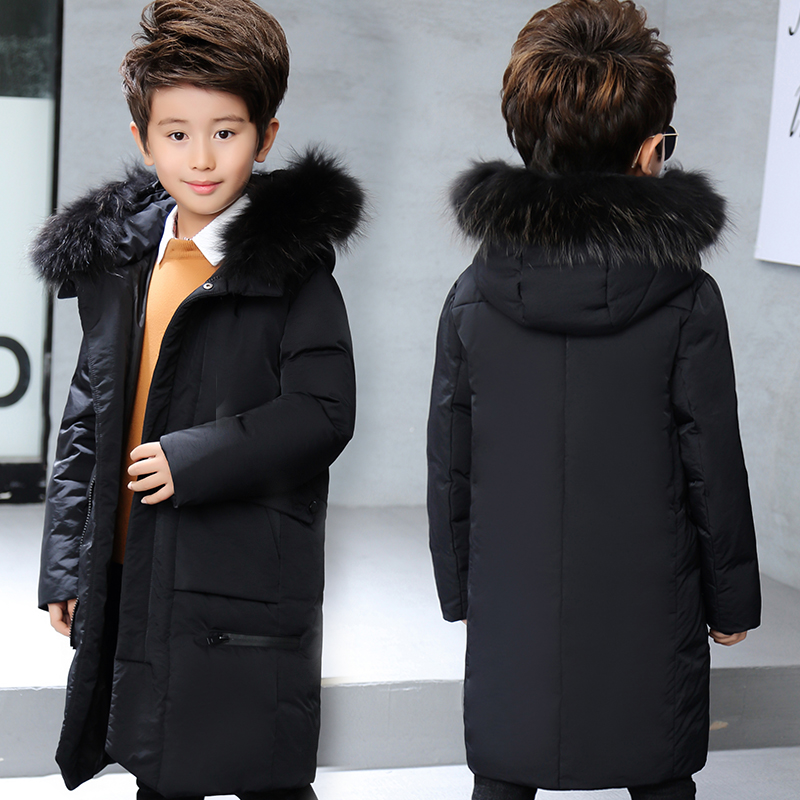 XYF8888 Winter 100 White Duck Down Jacket Child Solid color Hooded Keep Warm Thick Coat Girls Long Outerwear Boys Windbreaker