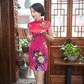 Nueva llegada chino tradicional oriental dress women cheongsam qipao corto de seda de la vendimia elegante delgado vestidos de ropa de la boda
