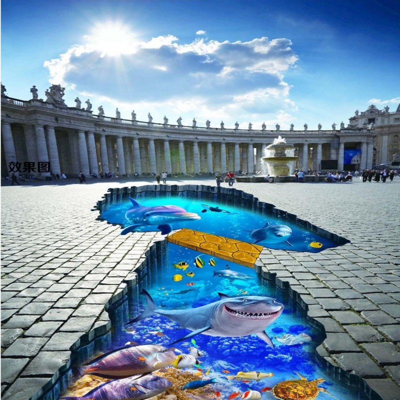 ФОТО Free Shipping Underwater shark dolphin wood bridge 3D outdoor floor painting non-slip mall living room bathroom flooring mural