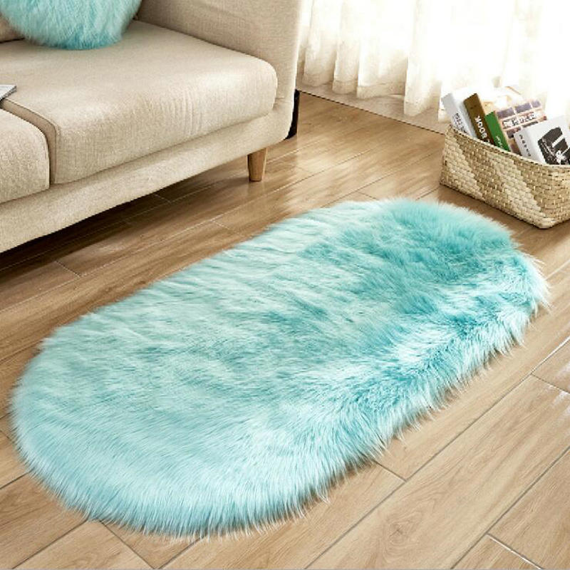 US $16.73 30% OFF|Oval Nursery Carpet Soft Shaggy BLUE Rugs for Girls  Bedroom Bedside Rugs Floor Mat Faux Fur Fluffy Area Rugs Plush Sofa  Cover-in Rug ...
