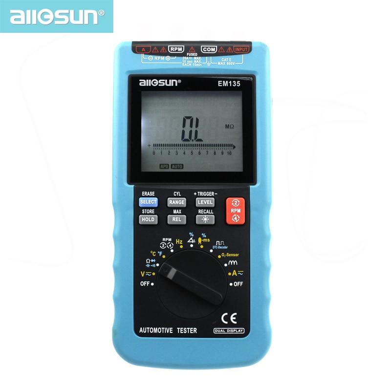 Digital Automotive Multimeter 20A ACA DCA LCD Autorange Automotive Tester O2 sensor Temp RPM Dwell Angle