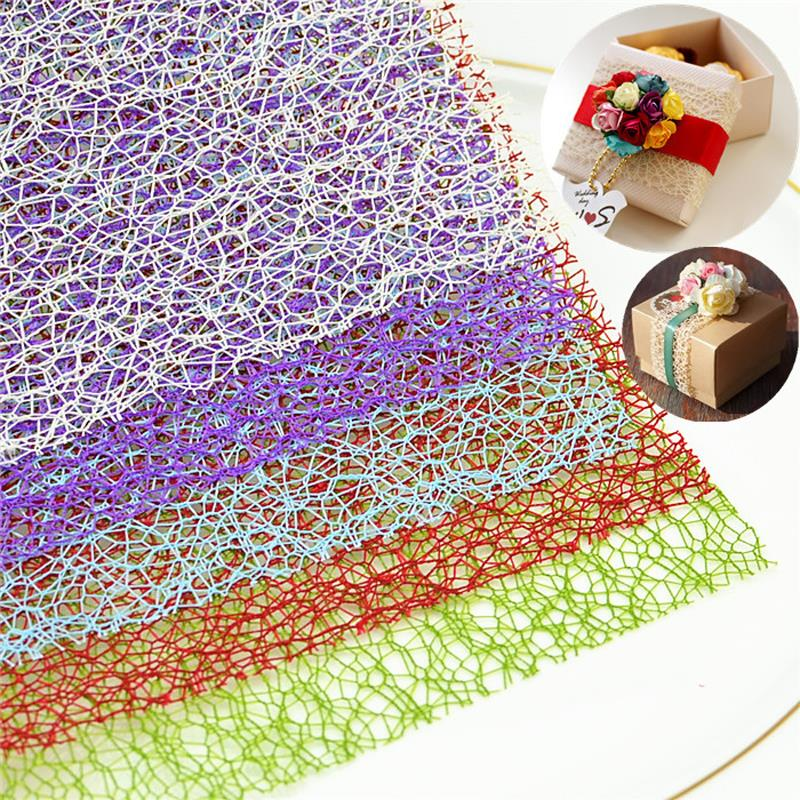 Linen sheet candy box accessories patch Flowers wrapping paper gift Mesh WeddingCraft Candy Box Packing Decor Party Favors