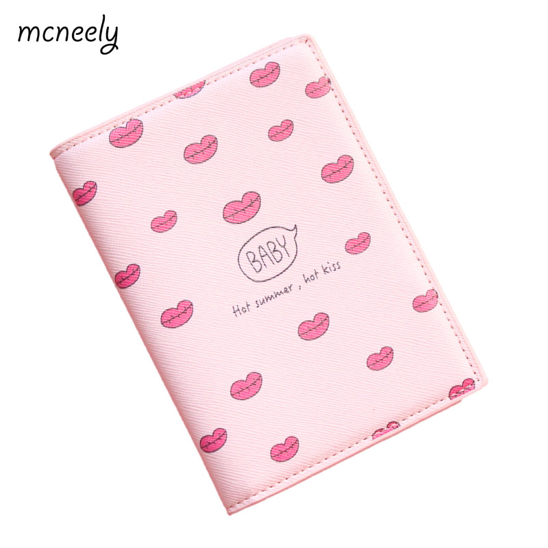 Red lips Travel Passport Cover passport Holder PU Leather ID Card Bag Plane ticket Coin Storage Business card holder 14*10CM