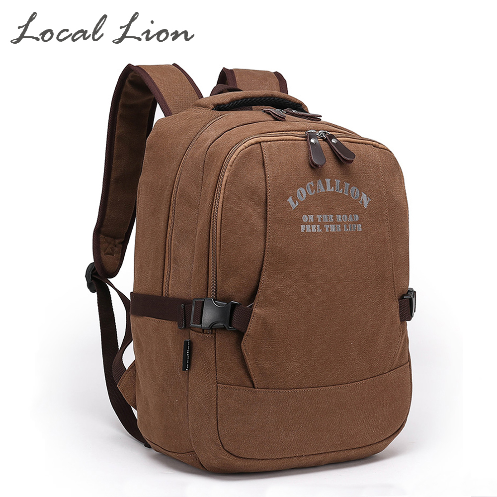 ФОТО LOCAL LION Women's Canvas Backpacks Solid Vintage Men Daily Backpack Shoulder Bags Travel Backpack School Laptop Bag HQB1788