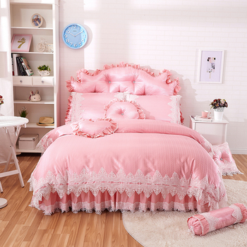Pink princess style lace bedding sets cotton jacquard queen king size girls bedskirt+pillowcase+duvet cover set gifts 36