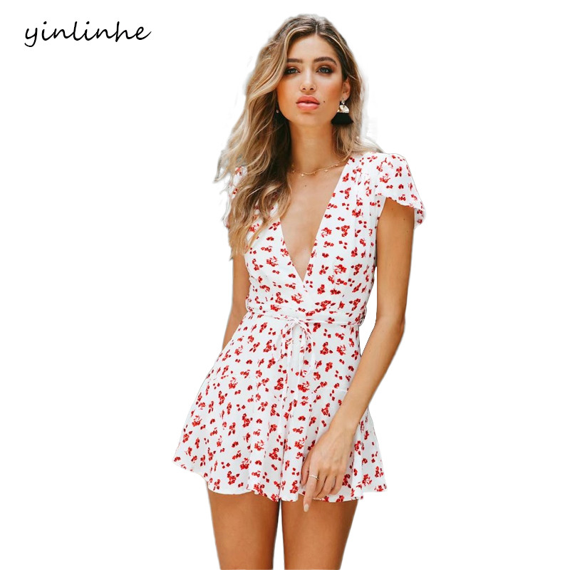 yinlinhe White Floral Overall Women Short Sleeve V neck Sexy Short   Jumpsuit   women rompers 2019 Slim beach summer playsuit 342