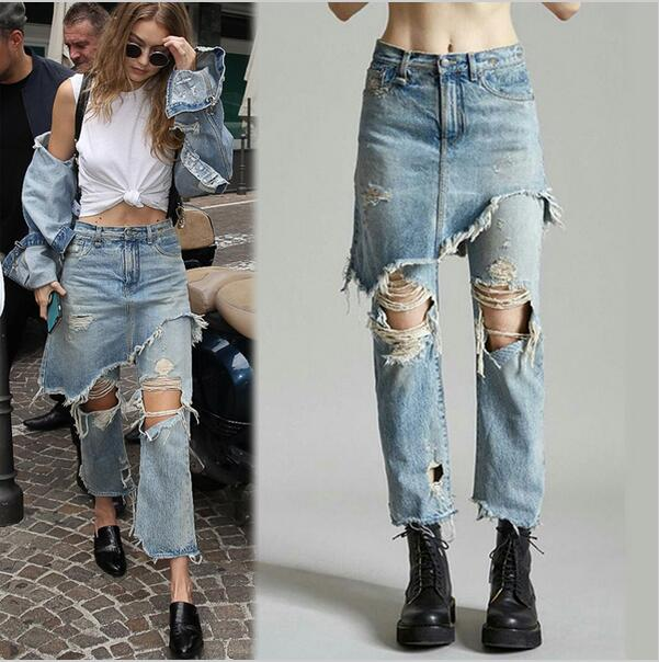 Fashion Ladies Cropped Flare Distressed Jeans Women Vintage Fringe Edges Tassels Ripped Jeans Femme Denim Pants with Hole NZK-17