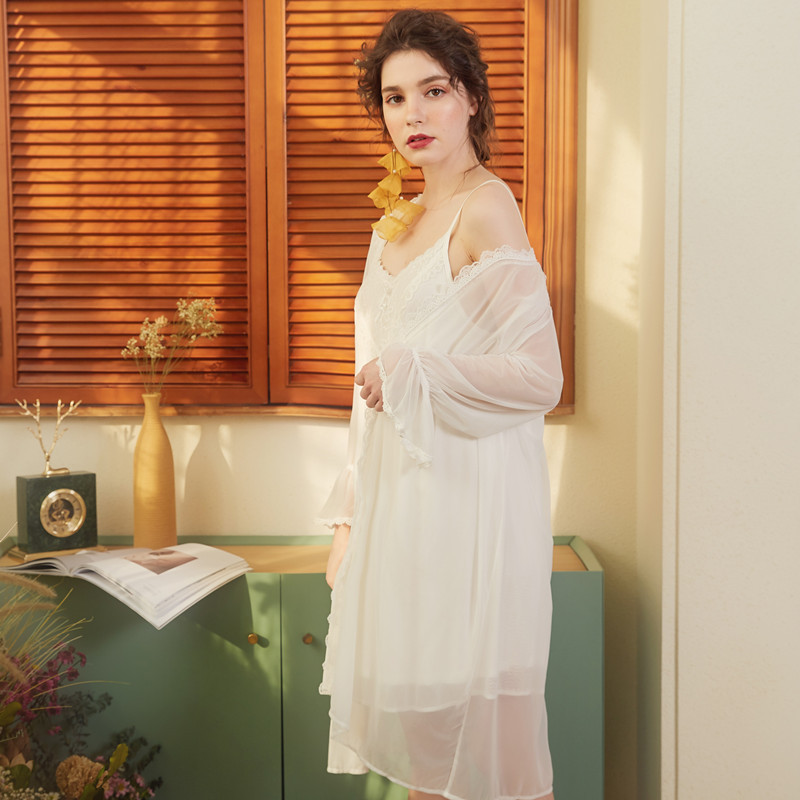 2019 Spring Summer Women Night Wear Home Robe Gown Set Transparent Lace Robe Kimono Lining Sexy Nightie Vintage Peignoir Sets