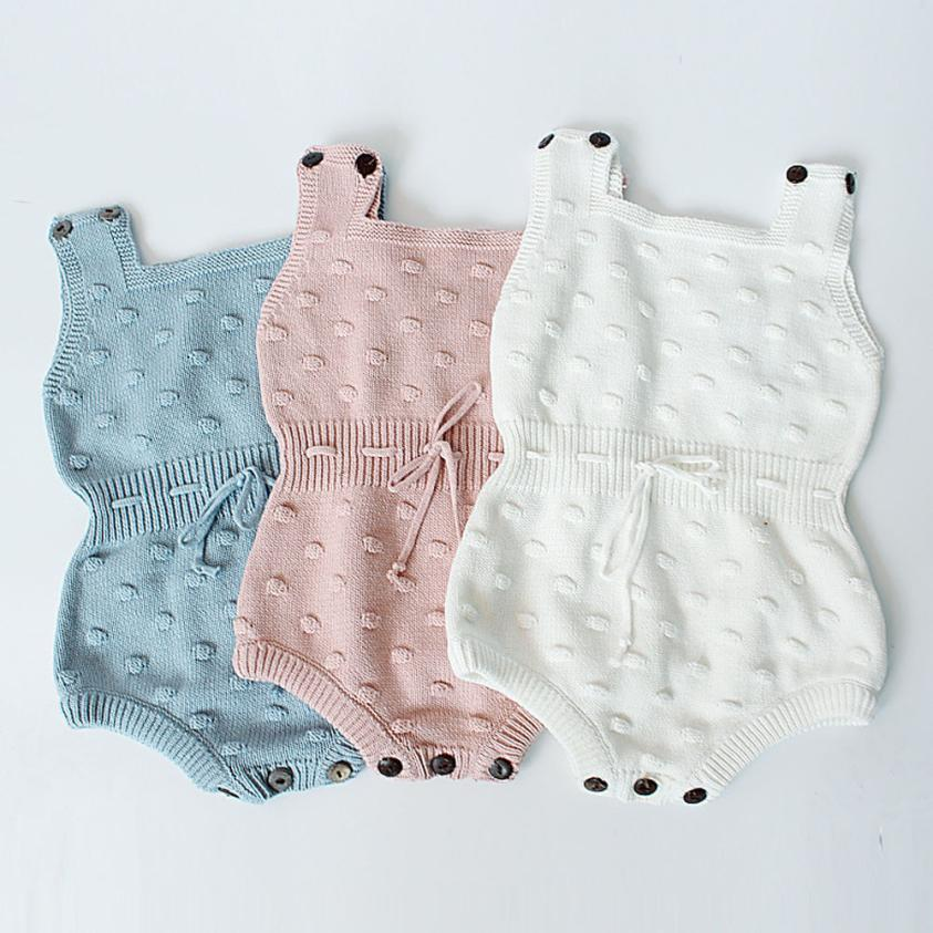 Cute Newborn Baby Girls Knitted Sleeveless Halter Toddler Strap Jumpsuit Clothes Romper Outfit knitted romper baby boy JD Loviny