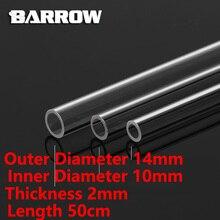 Barrow PMMA/PETG sztywna rurka ID8mm/OD12mm   ID10mm/OD14mm  ID12mm/OD16mm długość 50cm przezroczysta rura akrylowa PETG Tube 2 sztuk/partii