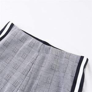 Image 5 - InstaHot Elastic Stretchy Side Striped Plaid Pencil Pants Women Casual Autumn Women Trousers Elastic Waist Tweed Slant Elegant