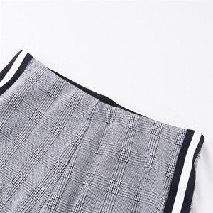 Image 5 - InstaHot élastique côté rayé Plaid pantalon femmes décontracté automne femmes pantalon taille élastique Tweed Slant élégant