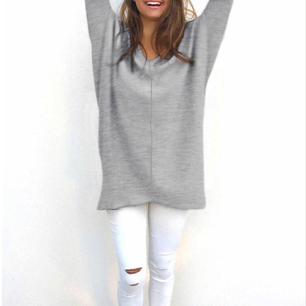 Gray Cotton Long Sleeve Winter Sweater Women Casual V Neck ...