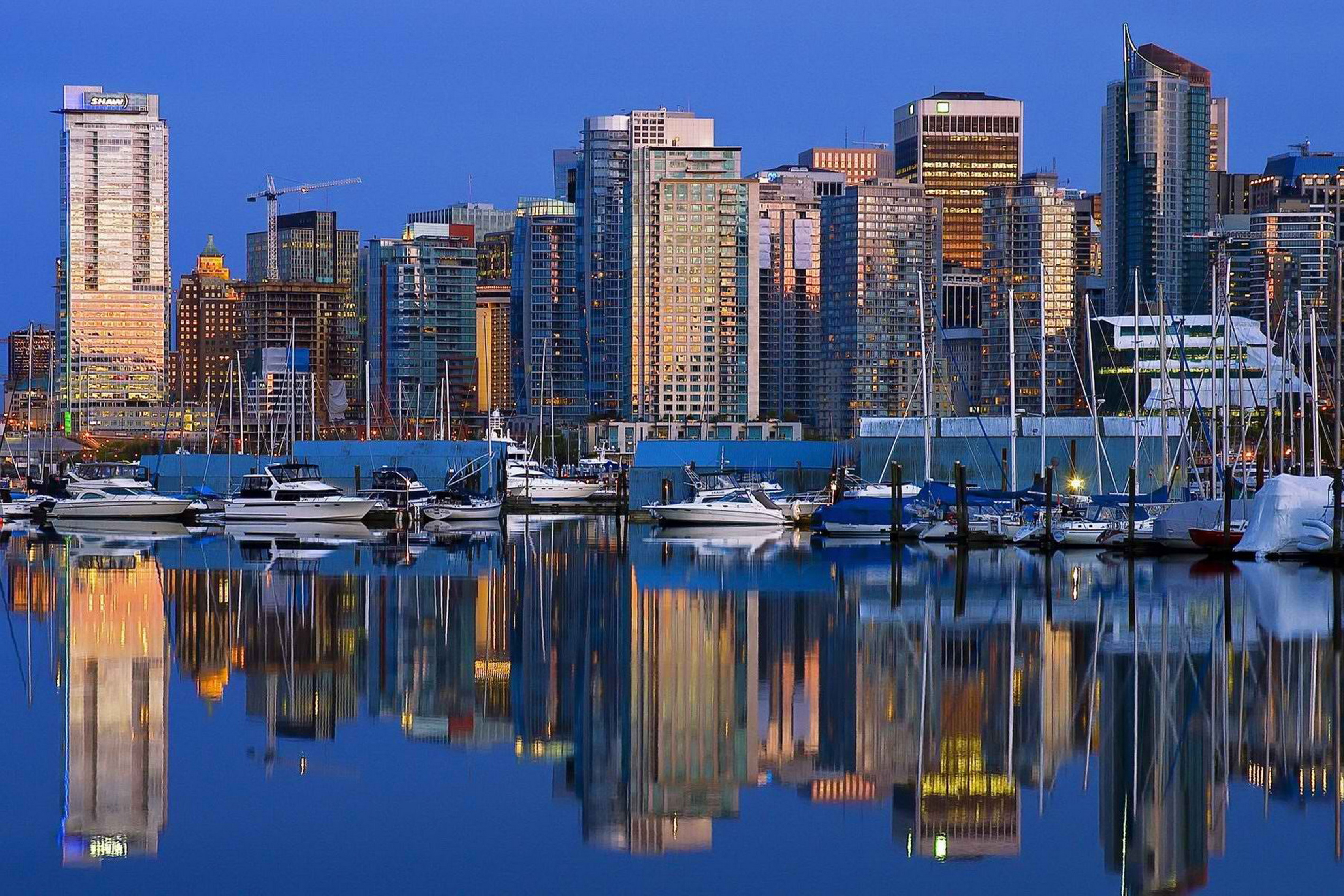 Color printing downtown vancouver - Home Decoration Skylines Downtown Vancouver British Harbours Silk Fabric Poster Print 407fj