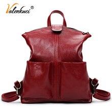 Valenkuci женщины рюкзак высокое качество кожи mochila эсколар школьные сумки для подростков девочек студент рюкзак пакет BD-201