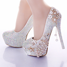 2016 Gorgeous Handmade AB Crystal Color Wedding Shoes Elegant Prom Party Formal Dress Shoes Bridesmaid High Heels Pumps