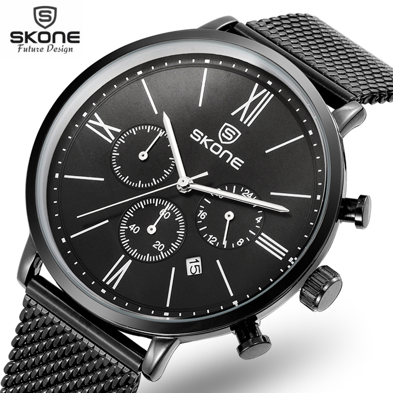 Functional Chronograph Ultra Slim Top Skone Brand Quartz Watch Men Casual Business JAPAN Analog Watch Men Relogio Masculino 2017 skone relogio 9385
