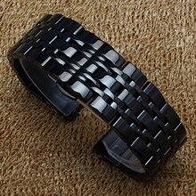 Reemplazo 14 mm 16 mm 18 mm 20 mm 22 mm pulsera de acero inoxidable negro Flat Metal de la venda de reloj correa de reloj de cuarzo accesorios