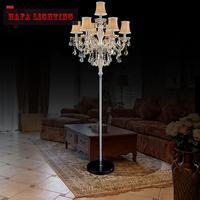 7 lamp European Luxury Crystal floor Lamp E14 candle crystal floor chandelier light Decorative Living Room floor light